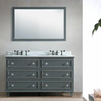 Luna 60 Double Bathroom Vanity Set with Mirror Base Finish: Maple Gray