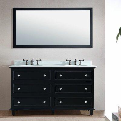 Luna 60 Double Bathroom Vanity Set with Mirror Base Finish: Espresso