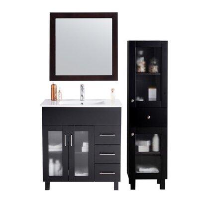 Nova 32 Single Bathroom Vanity Set with Mirror Base Finish: Espresso