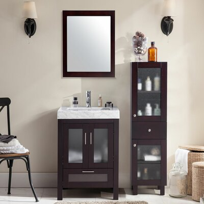 Rushmore 24 Single Bathroom Vanity Set with Mirror Base Finish: Brown