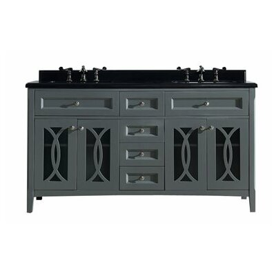 Grazia 60 Double Bathroom Vanity Set Base Finish: Gray, Top Finish: Absolute Black