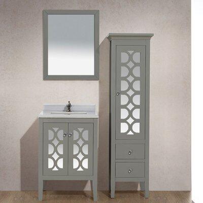 Mediterraneo 24 Single Bathroom Vanity Set with Mirror Base Finish: Gray, Top Finish: White Stripes