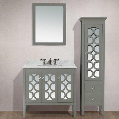 Mediterraneo 36 Single Bathroom Vanity Set with Mirror Top Finish: White Carrera, Base Finish: White