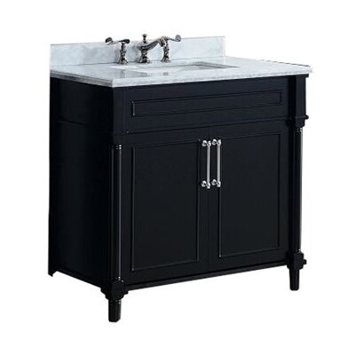 Continental 36 Single Bathroom Vanity Set Top Finish: Black Wood, Base Finish: Espresso