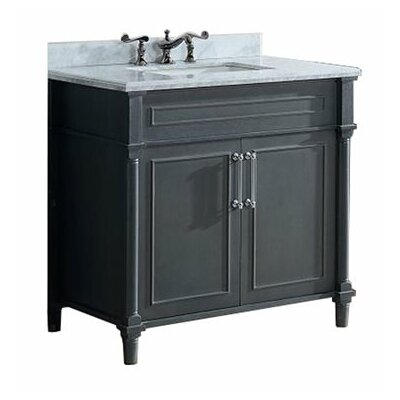 Continental 36 Single Bathroom Vanity Set Base Finish: Maple Gray, Top Finish: White Carrera