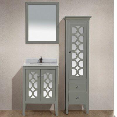 Mediterraneo 24 Single Bathroom Vanity Set with Mirror Base Finish: White, Top Finish: White Stripes