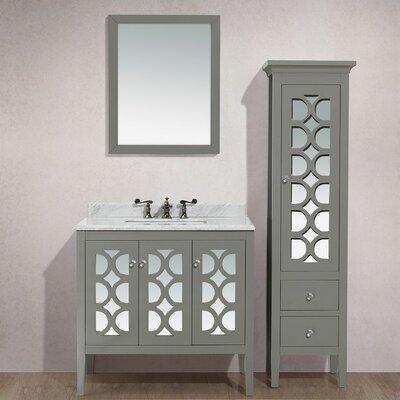 Mediterraneo 36 Single Bathroom Vanity Set with Mirror Base Finish: Gray, Top Finish: White Carrera