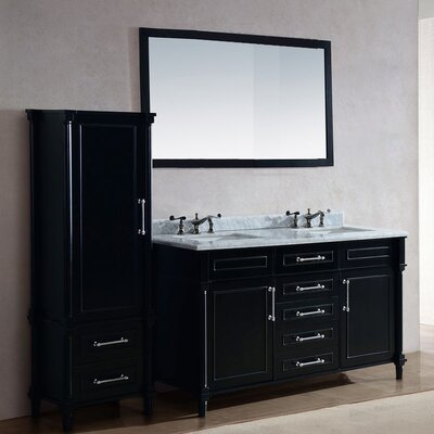 Continental 60 Double Bathroom Vanity Set with Mirror Base Finish: Espresso, Top Finish: White Stripes