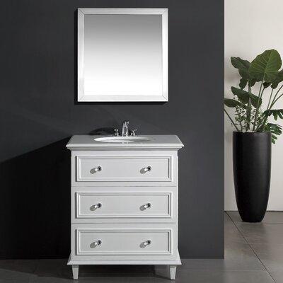 Luna 30 Single Bathroom Vanity Set with Mirror Base Finish: White