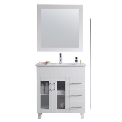 Nova 32 Single Bathroom Vanity Set with Mirror Base Finish: White