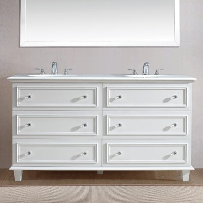 Luna 60 Double Bathroom Vanity Set Base Finish: White