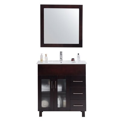 Nova 32 Single Bathroom Vanity Set with Mirror Base Finish: Brown