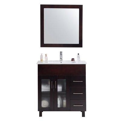 Nova 32 Single Bathroom Vanity Set with Mirror Base Finish: Brown