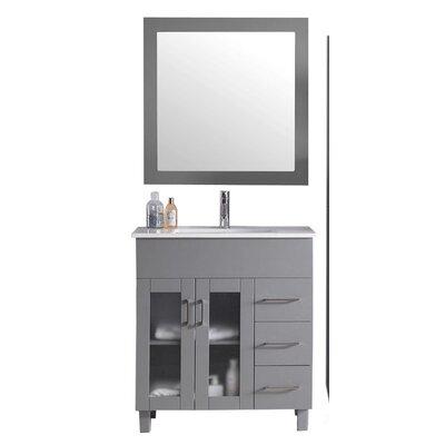 Nova 32 Single Bathroom Vanity Set with Mirror Base Finish: Gray