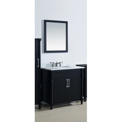 Continental 36 Single Bathroom Vanity Set with Mirror Base Finish: Maple Gray, Top Finish: White Stripes