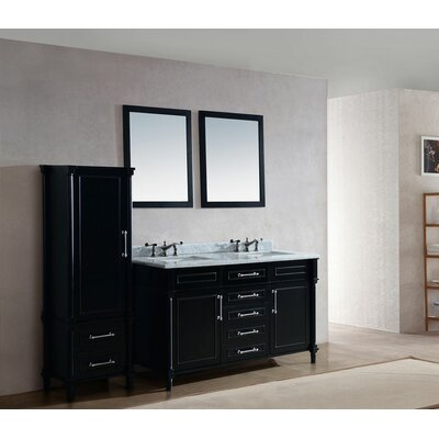 Continental 60 Double Bathroom Vanity Set with Mirror Base Finish: Espresso, Top Finish: White Carrera