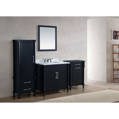 Continental 36 Single Bathroom Vanity Set with Mirror Base Finish: White, Top Finish: White Stripes