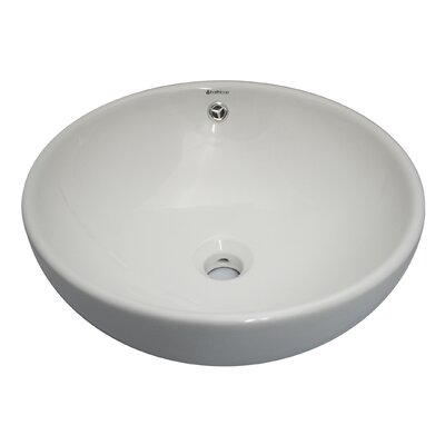 Ceramic Circular Vessel Bathroom Sink with Overflow
