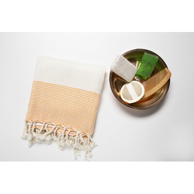 6 Piece Bath Towel Set Color: Cream/Orange