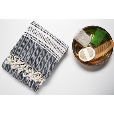 6 Piece Bath Towel Set Color: Blue/Cream
