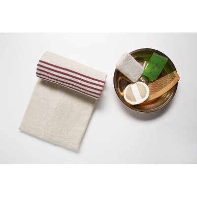 6 Piece Bath Sheet Set Color: Beige/Burgundy