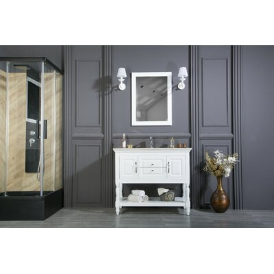Bury 42 Single Bathroom Vanity Set with Mirror Base Finish: White