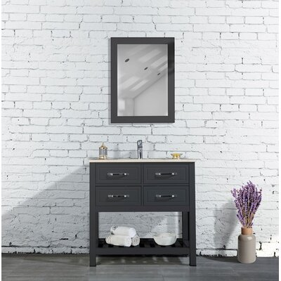 Edwin 33 Single Bathroom Vanity Set with Mirror Base Finish: Anthracite