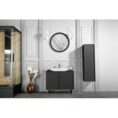 Carrillo 37 Single Bathroom Vanity Set with Mirror Base Finish: Anthracite