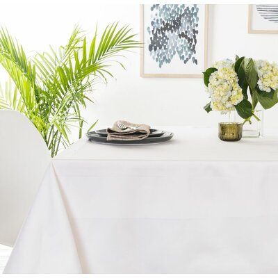 Orwell Satin Band Cotton Tablecloth Color: White, Size: 0.2
