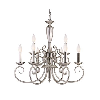 Liberty 9-Light Candle-Style Chandelier Finish: Pewter