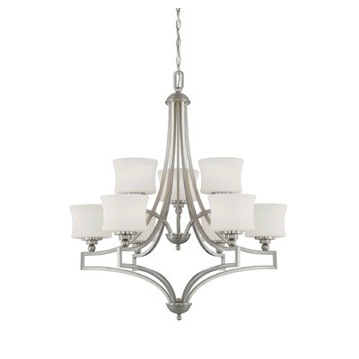 Terrell 9-Light Shaded Chandelier Finish: Satin Nickel