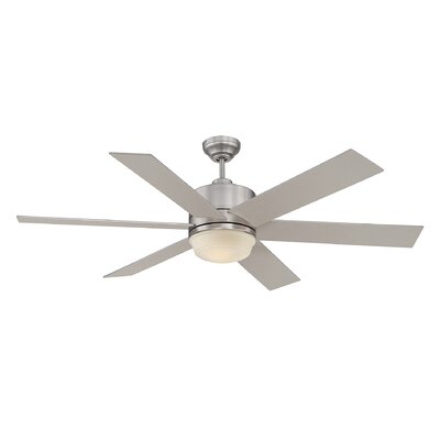60 Ayleen 6-Blade Ceiling Fan with Remote Finish: Satin Nickel