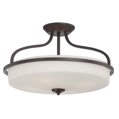Charlton 2-Light Semi-Flush Mount Finish: English Bronze, Size: 13 H x 21 W