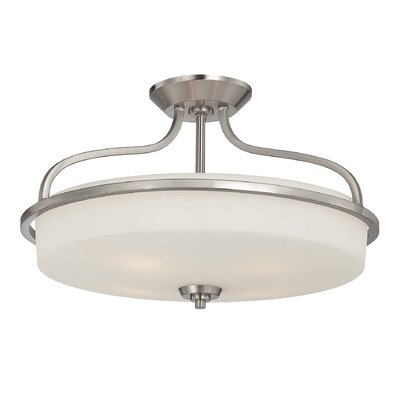 Stewartstown 2-Light Semi-Flush Mount Finish: Satin Nickel, Size: 13 H x 21 W