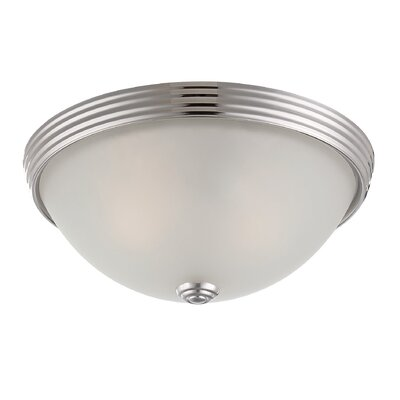 Brinwood 2-Light Flush Mount Finish: Polished Nickel, Size: 4.5 H x 11 W, Shade Color: White