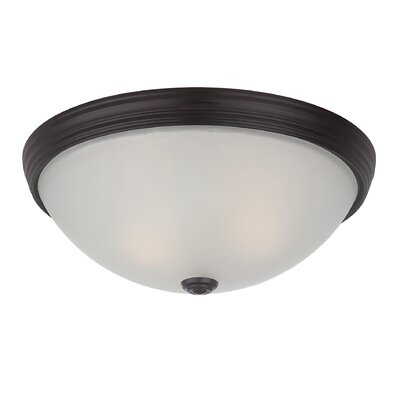 2-Light Flush Mount Finish: English Bronze, Size: 5 H x 13 W, Shade Color: Cream