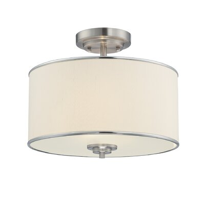 Laurie 2-Light Semi Flush Mount Finish / Shade: Satin Nickel / White