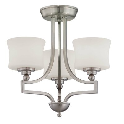 Ellerman 3-Light Semi Flush Mount Finish: Satin Nickel