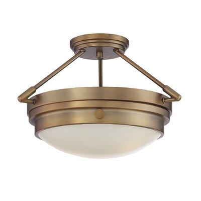 Aralene 2-Light Semi-Flush Mount Color: Warm Brass
