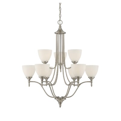 Ellender 9-Light Shaded Chandelier Finish: Satin Nickel