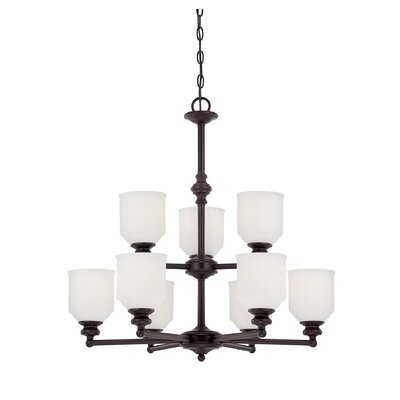 Genevieve 9-Light Shaded Chandelier Finish: English Bronze