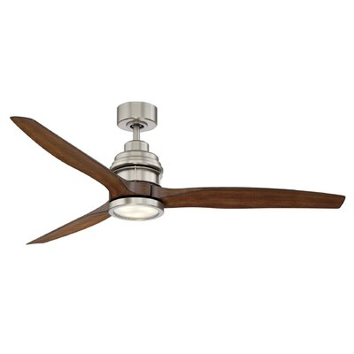 60 La Salle 3 Blade Ceiling Fan with Remote Control Finish: Satin Nickel with Koa Wood Blades