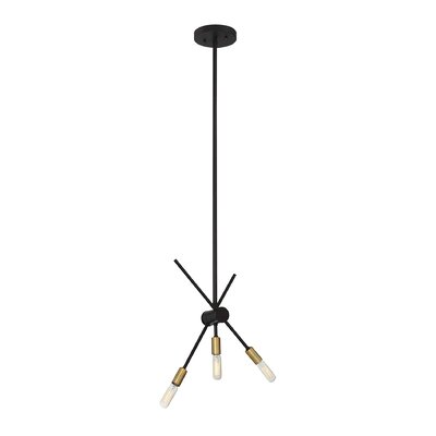 Whaleback 3-Light Geometric Pendant Finish: Bronze