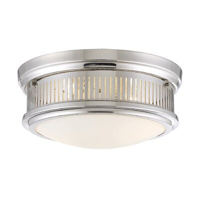John 2-Light Flush Mount Finish: Polished Nickel, Size: 6.75 H x 15 W