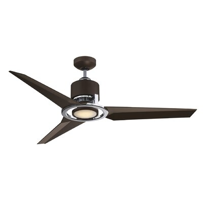 52 Burov 3 Blade Ceiling Fan with Remote Control Finish: Chrome with Metallic Bronze Blades