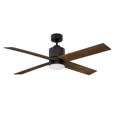 52 Dayton 4 Blade Ceiling Fan with Remote Control Finish: English Bronze with Walnut Blades