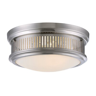 John 2-Light Flush Mount Finish: Satin Nickel, Size: 5.88 H x 13.25 W