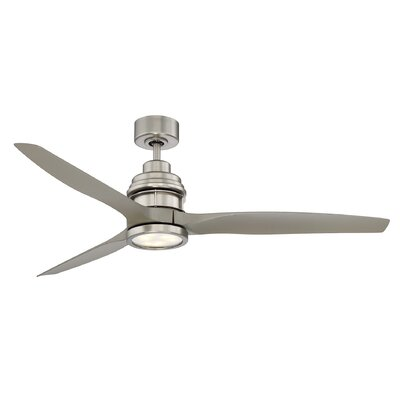 60 La Salle 3 Blade Ceiling Fan with Remote Control Finish: Satin Nickel with Silver Blades