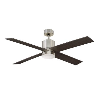 52 Dayton 4 Blade Ceiling Fan with Remote Control Finish: Satin Nickel with Chestnut Blades