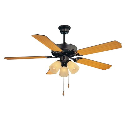 52 First Value 5-Blade Ceiling Fan Motor Finish: English Bronze, Blade Finish: Walnut / Teak, Shade Color: Cream Frosted Ribbed